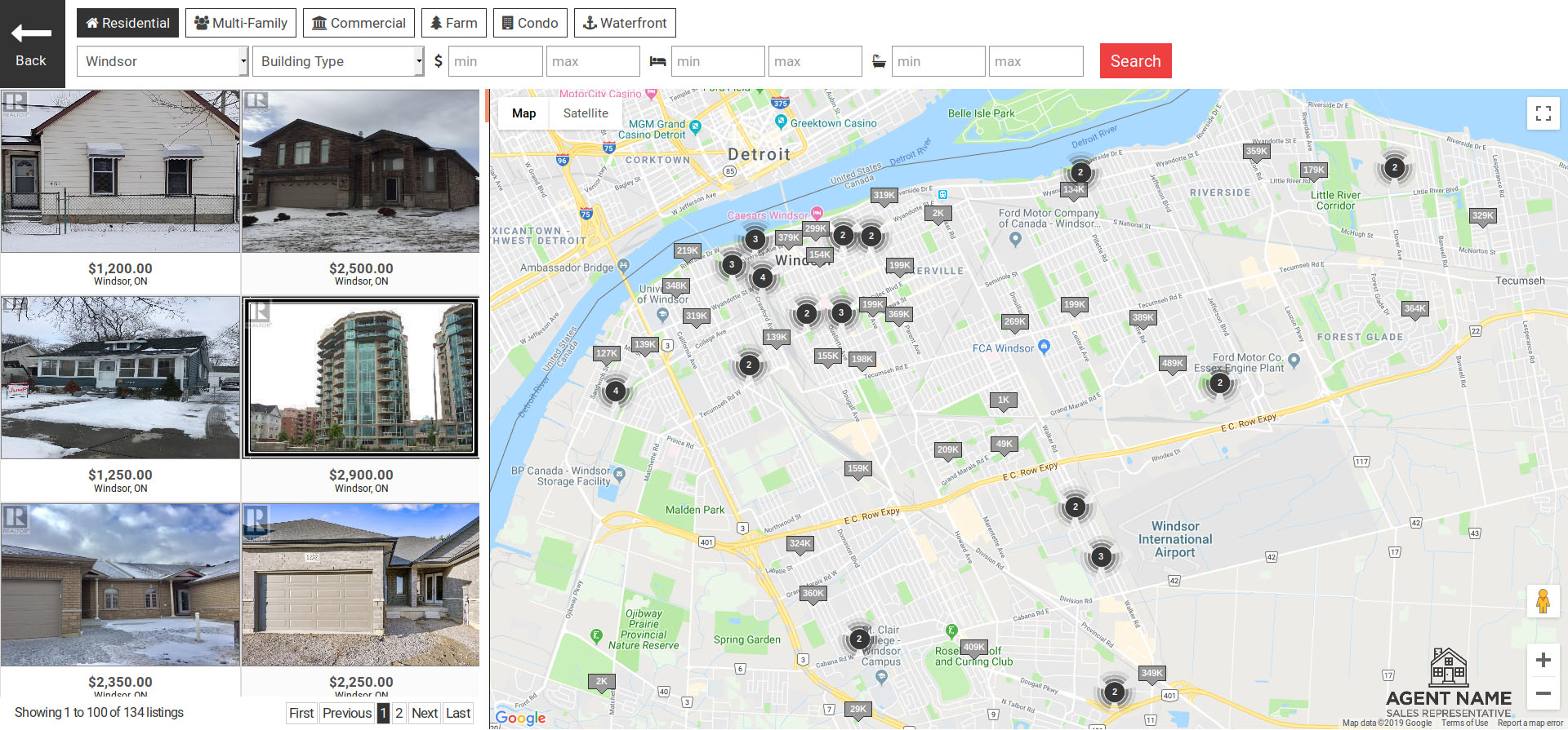 Enahnced search on map included on all Real Estate Solution websites.