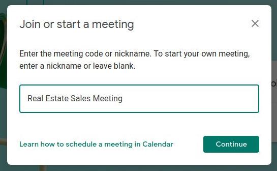 Google Meet - Join or start a meeting window