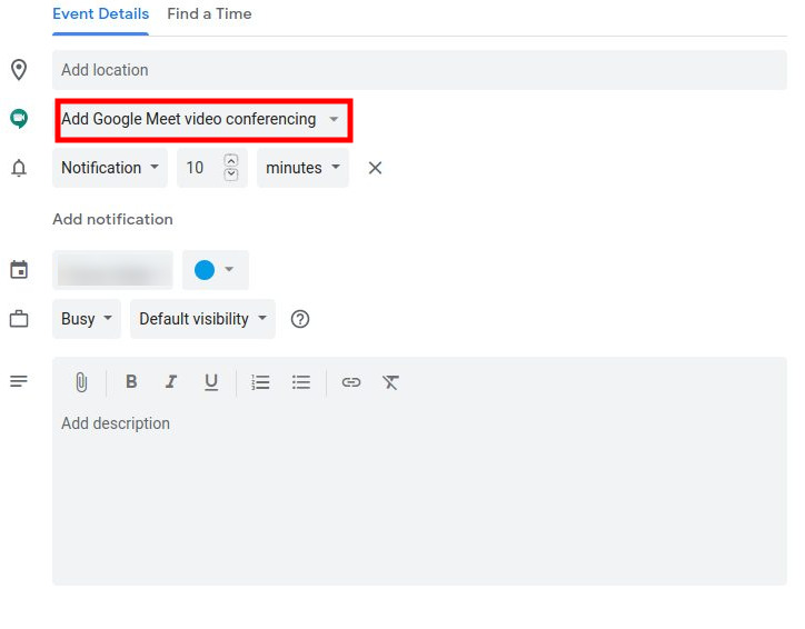 Google Meet - Google Calendar Invitation