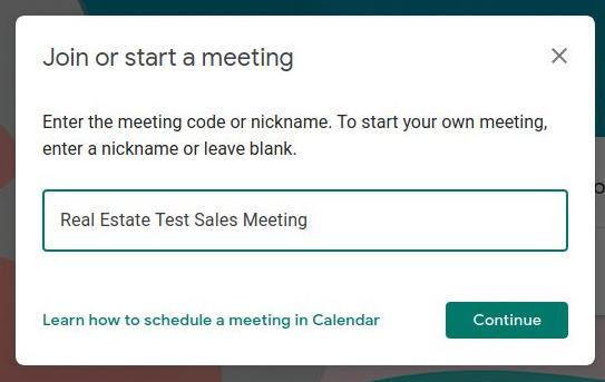 Google Meet - Start or join a meeting box