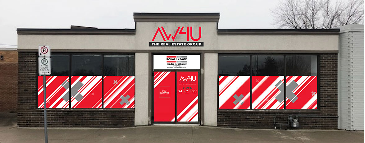AW4U The Real Estate Group Building Signage and Window Graphics