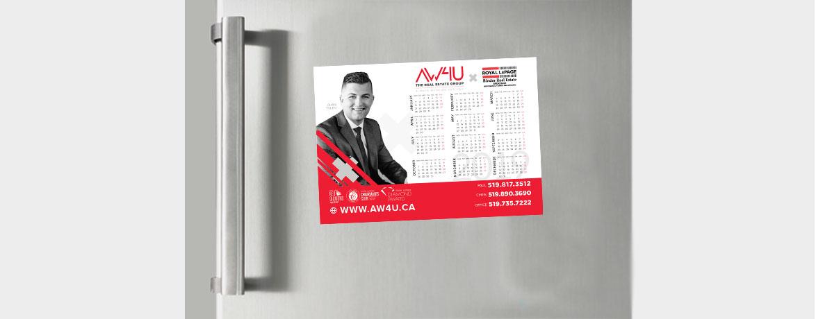 AW4U Magnet Calendars handing on a refrigerator